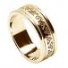 Alliance trinité gravée pour femme avec garniture - Tout l'or jaune