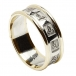 Mens Carved Trinity Wedding Ring with Trim - White with Yellow Trim