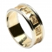 Mens Carved Trinity Wedding Ring with Trim - Yellow with White Trim
