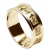 Mens Carved Trinity Wedding Ring with Trim - All Yellow Gold