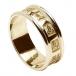 Alliance trinité sculptée pour homme avec garniture - Tout l'or jaune