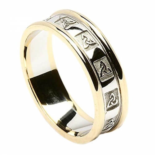 Womens Carved Trinity Wedding Ring with Trim - White with Yellow Trim