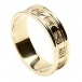 Womens Carved Trinity Wedding Ring with Trim - All Yellow Gold