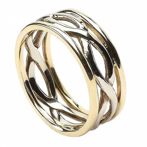 Damen Unendlichkeit Knoten Ring mit Trim - Weiß und Gelbgold