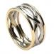 Herren Unendlichkeit Knoten Ring mit Trim - Weiß und Gelbgold