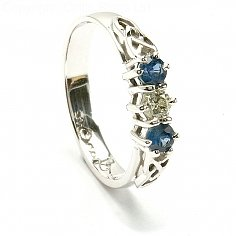 Sapphire 3 Stone Engagement Ring