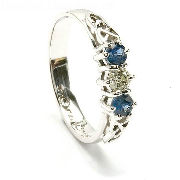 Sapphire 3 Stone Engagement Ring Celtic Rings Ltd