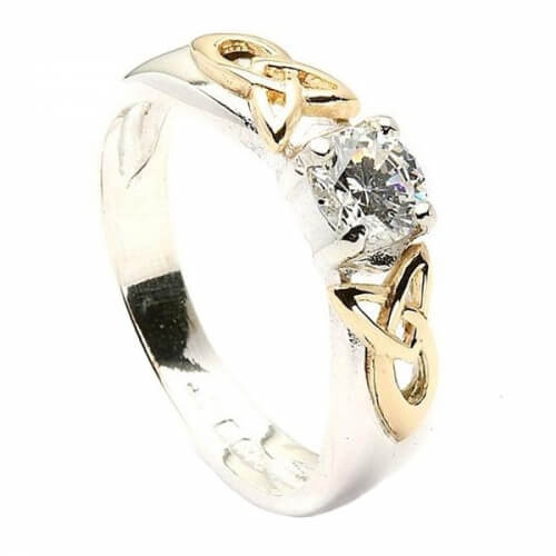 Trinity Shoulder CZ Ring - Silver and 10k Gold