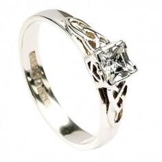 Bague de fiançailles princesse - Or blanc - Pas de diamant