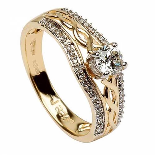 Keltischer Verlobungsring - Gelbes Gold
