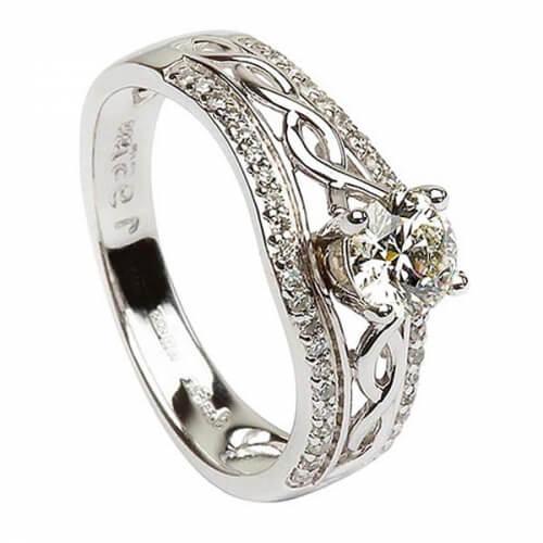 Keltischer Knoten Verlobungsring - Weißes Gold