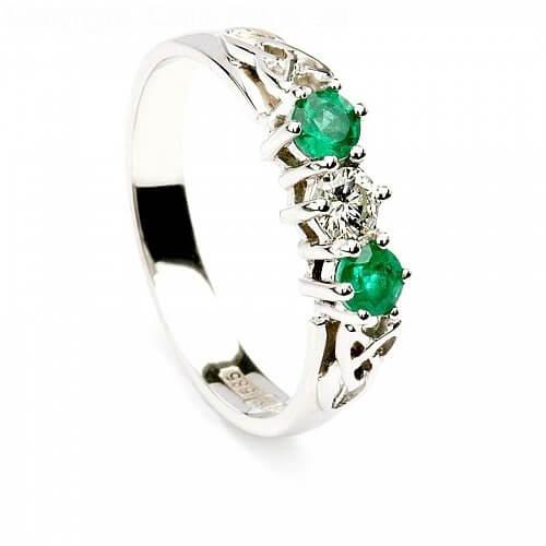 Emerald Three Stone Engagement Ring - White Gold