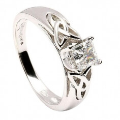 Princess Trinity Inset Ring - White Gold