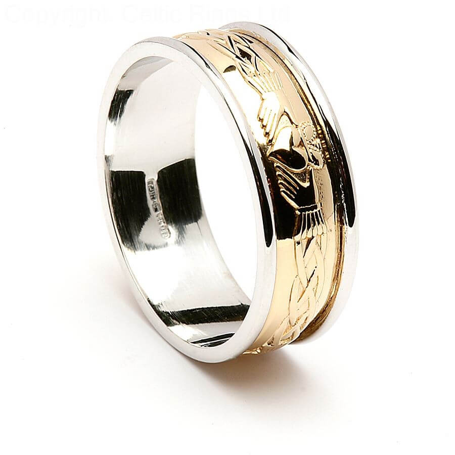 engraved claddagh - 14k yellow gold with white gold trim
