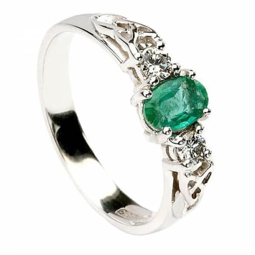 Emerald Engagement Ring - White Gold