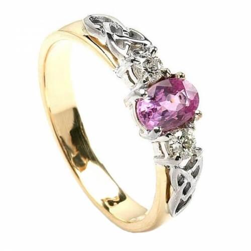 Bague de fiançailles en saphir rose - or jaune