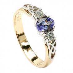 Blauer Tansanit Verlobungsring - Gelbes Gold