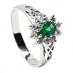 Emerald Diamond Cluster White Gold Ring