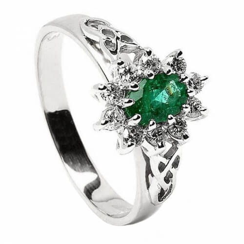 Smaragd Diamant-Cluster Weißgold Ring