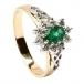 Smaragd Diamant Cluster Verlobungsring - Gelbes Gold