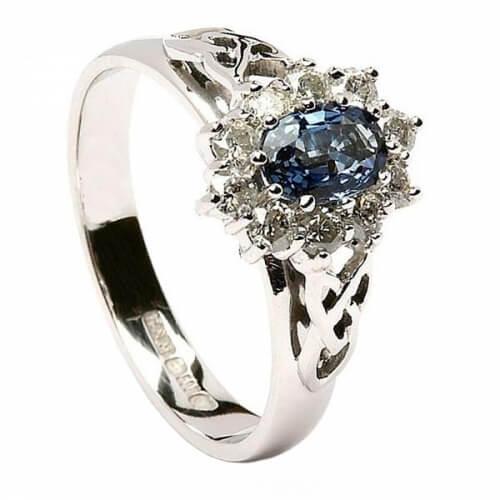 Saphir-Diamant-Cluster-Verlobungsring
