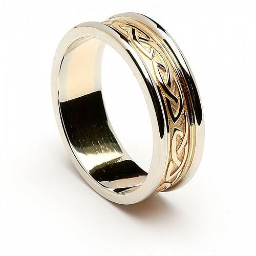 two tone celtic knot wedding ring 14k gold with white. Black Bedroom Furniture Sets. Home Design Ideas