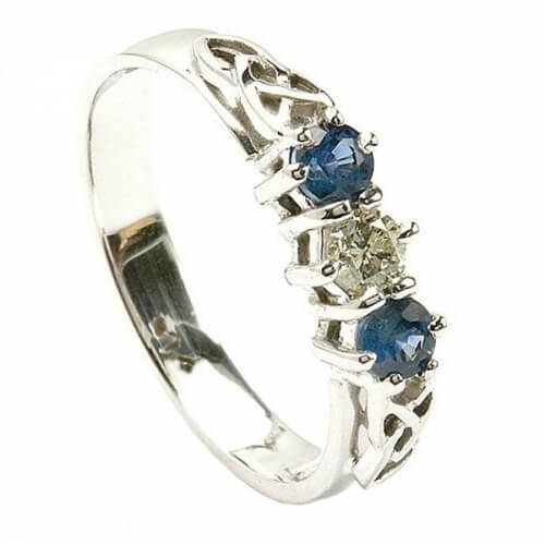 Sapphire Three Stone Engagement Ring - White Gold