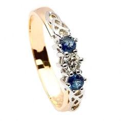 Saphir et diamant trois anneaux de pierre