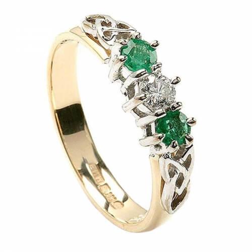Smaragd und Diamant Drie Stein Ring