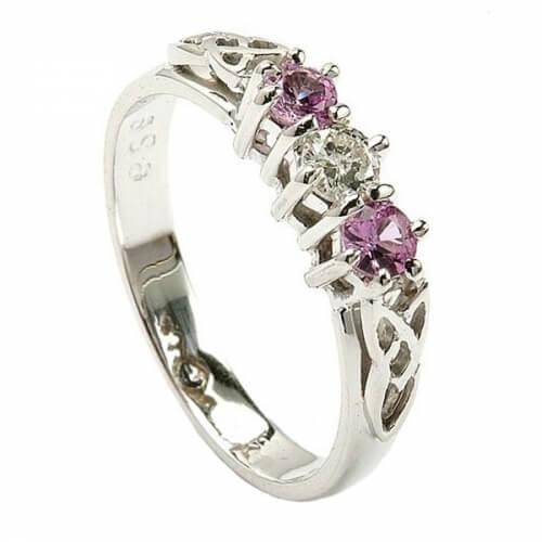 Pink Sapphire Three Stone Ring - White Gold