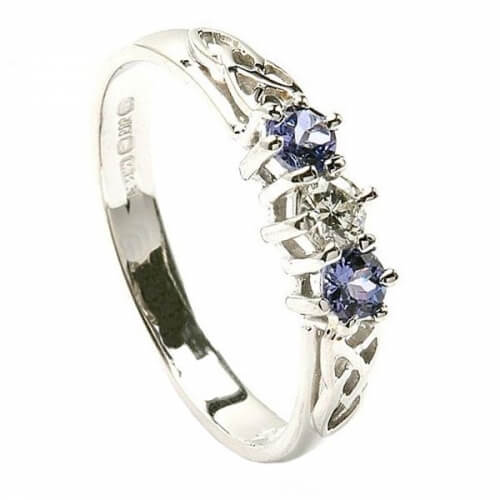 Tanzanite Three Stone Engagement Ring - White Gold