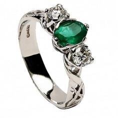Smaragd keltischer Verlobungsring - alles weiße Gold