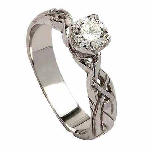 Celtic Diamond Engagement Ring - White Gold