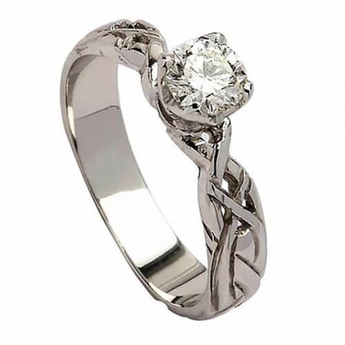 Celtique Bague de fiançailles diamant - or blanc