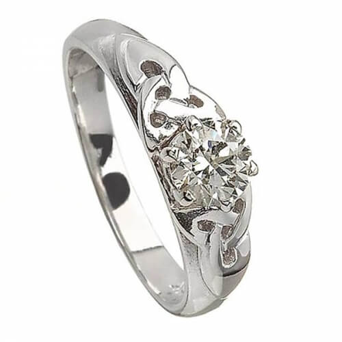 Solitaire Trinity Knot Engagement Ring - White Gold