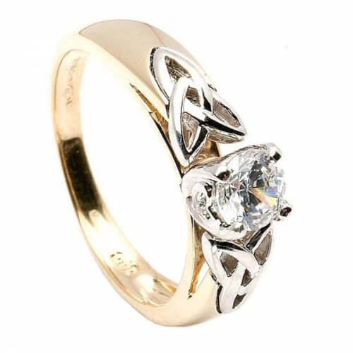 Bague de fiançailles avec noeud trinité - or jaune