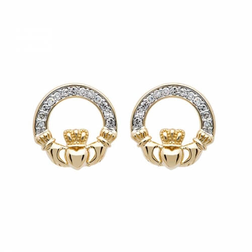 14K Diamond Claddagh Stud Earrings