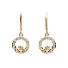 Diamond Claddagh Drop Earrings