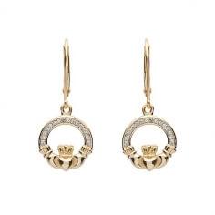Boucles d'oreilles diamant Claddagh