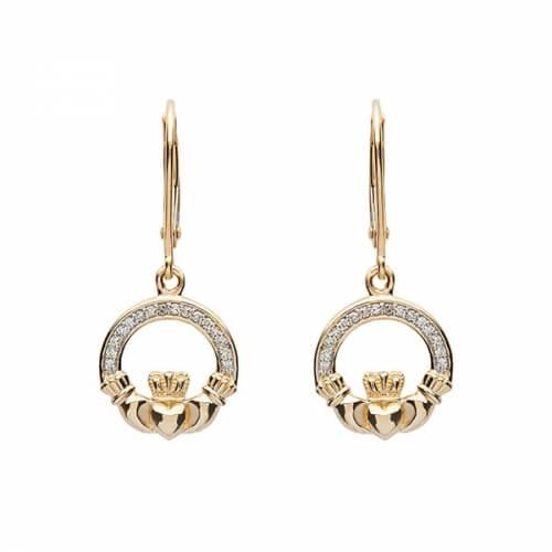 Diamond Claddagh Drop Earrings