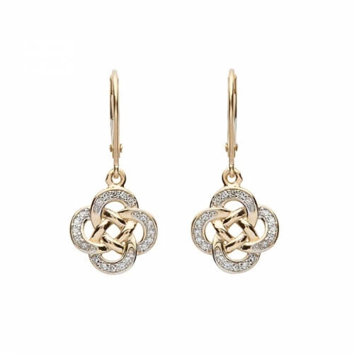 Diamond Celtic Drop Earrings