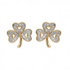 Shamrock Diamond Stud Earrings