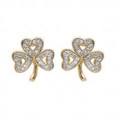 Boucles d'oreilles en diamant trèfle