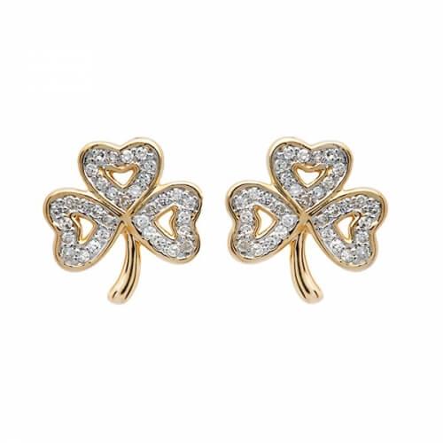 Shamrock Diamond Stud Earrings