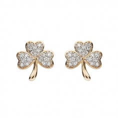 Diamond Encrusted Shamrock Earrings