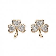 Diamantbesetzte Kleeblatt-Ohrringe