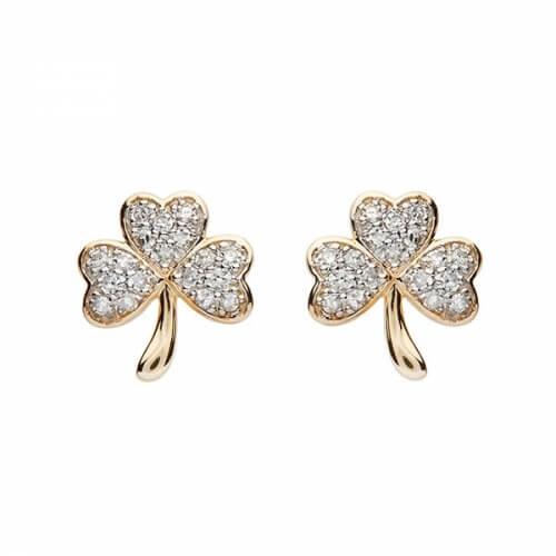 Boucles d'oreilles trèfle incrustées de diamants