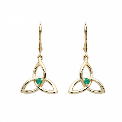 Emerald Trinity Knot Earrings