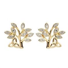 Boucles d'oreille diamant arbre de vie