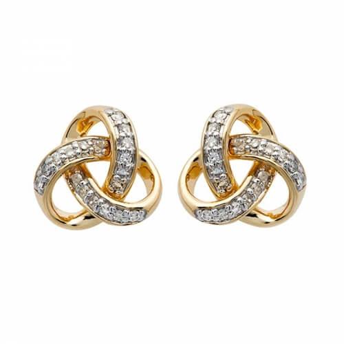 Diamond Trinity Stud Earrings